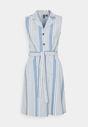 VMAKELASANDY CHAMBRAY SHORT - Vestido camisero - light blue denim/white