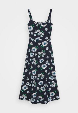 FLORAL STRAPPY KNOT FRONT MIDI DRESS - Jersey dress - navy