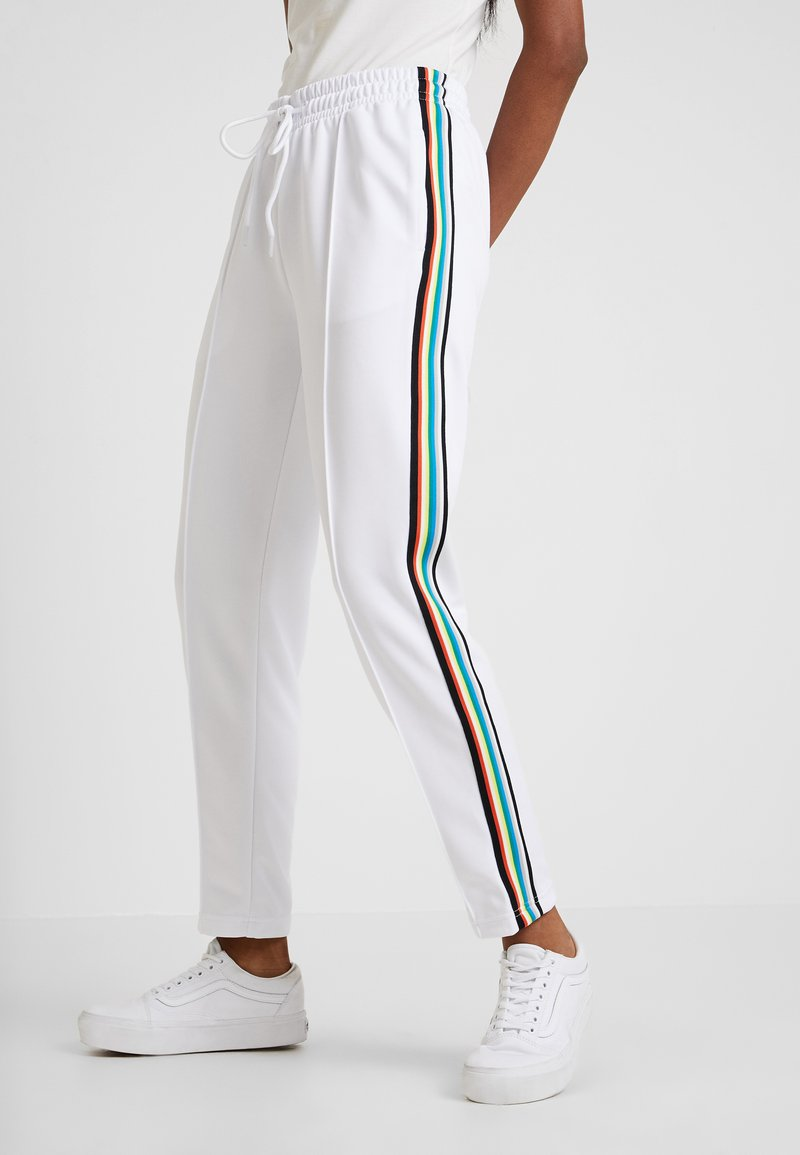 Urban Classics - DAMEN LADIES SIDE TAPED TRACK PANTS - Tracksuit bottoms - white