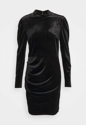 HIGH NECK VELVET DRESS - Pouzdrové šaty - black