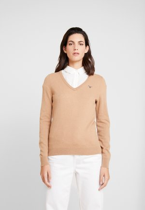 V NECK - Sweter - tan