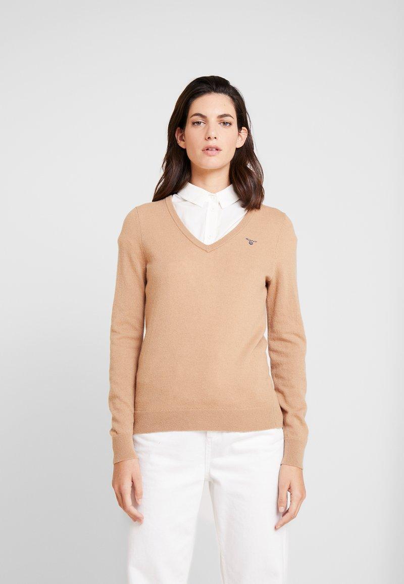 GANT - V NECK - Pullover - tan