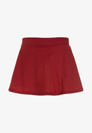 SKIRT WITH GLITTER - Minisukně - dark red