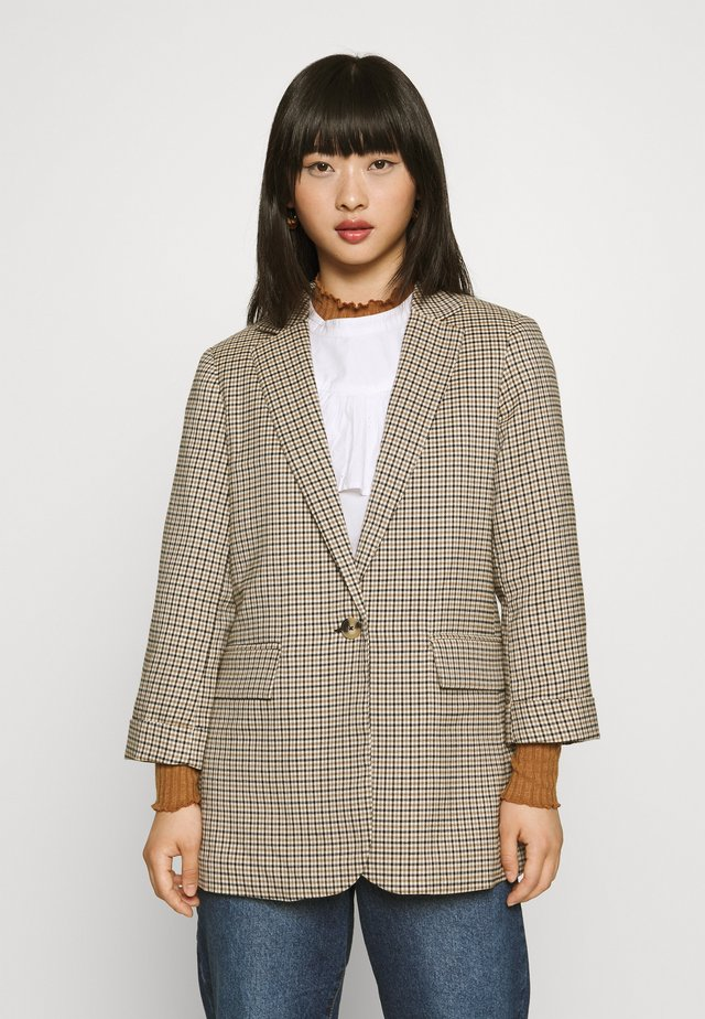 MICRO CHECK - Short coat - black