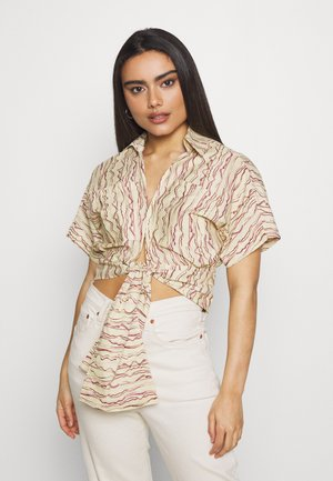 ABSTRACT PRINT TIE FRONT BLOUSE - Pusero - multi