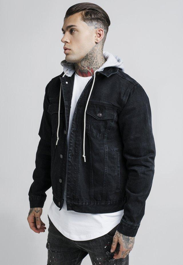 DETACHABLE HOOD - Denim jacket - washed black
