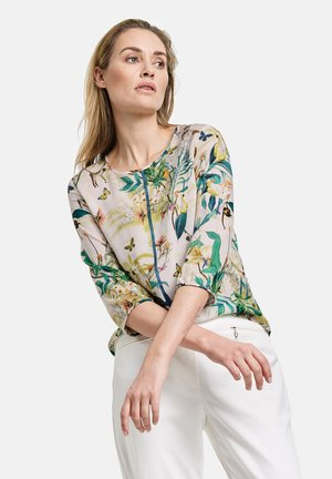 Blouse - off white ligh lime aloe druck