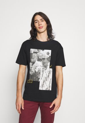 FLORAL ABSTRACT TEE UNISEX - Print T-shirt - black