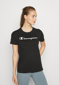 Champion - ESSENTIAL CREWNECK LEGACY - Printtipaita - black - 0