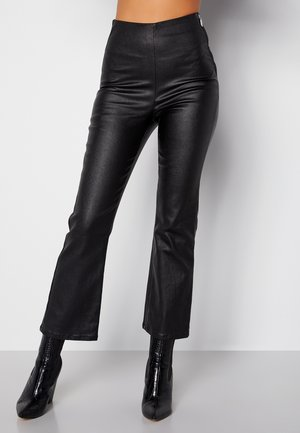 ALICIA COATED KICKFLARE  - Leather trousers - black