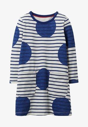 Jersey dress - segelblau, getupft