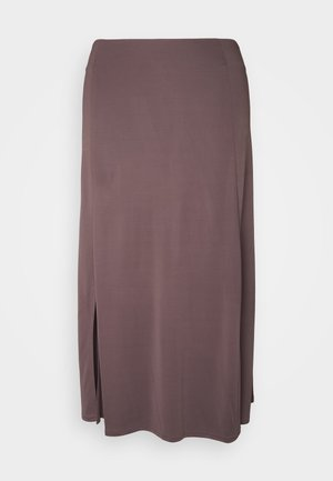 DRAPY SKIRT MIDI LENGTH SLIT DETAILING - A-line skirt - mocca brown