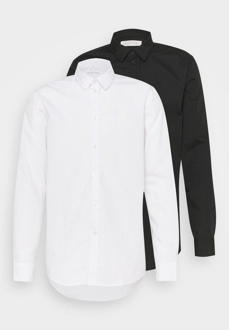 Pier One - 2 PACK - Formal shirt - white/black