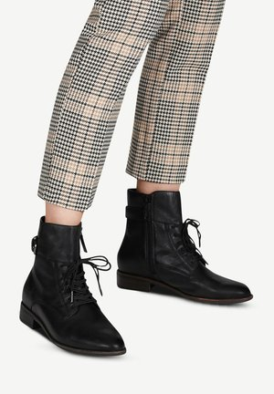 Lace-up ankle boots - black leather
