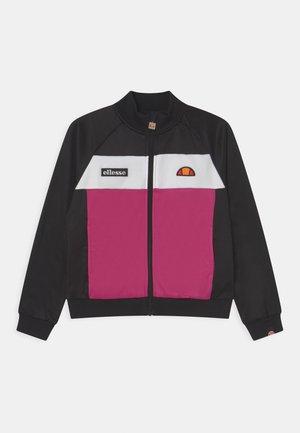 MARGRETI CROP TRACK - Mikina na zip - black/pink