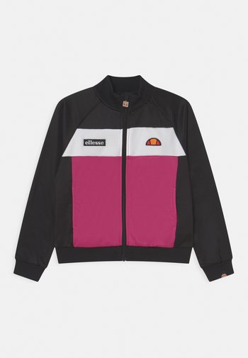 MARGRETI CROP TRACK - Sweatjakke - black/pink