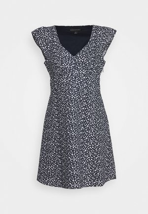 RUFFLE FRONT MINI PRINT - Košilové šaty - navy