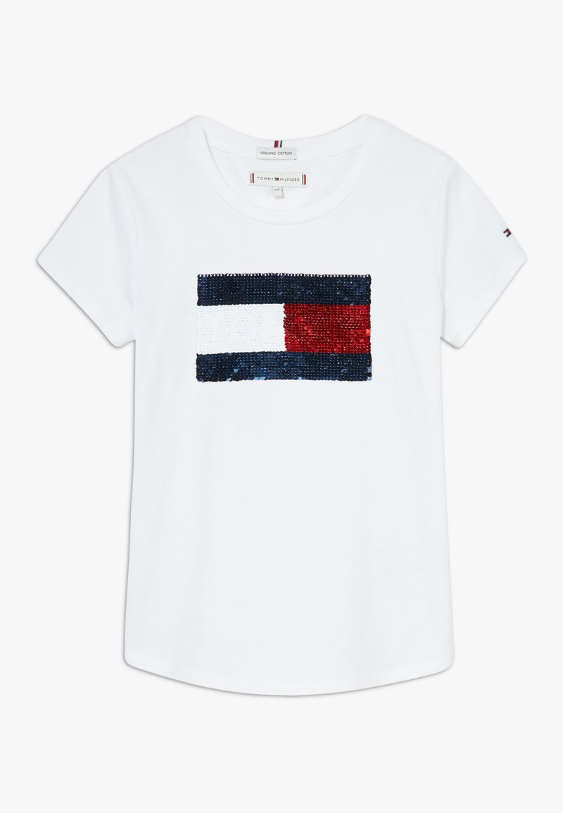 Tommy Hilfiger - FLAG FLIP SEQUINS TEE - Camiseta estampada - white