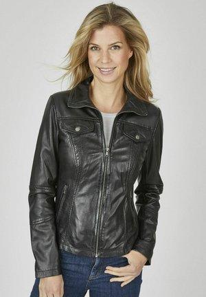 MIT UNI DESIGN UND LANGEN ARMELN - Leather jacket - schwarz