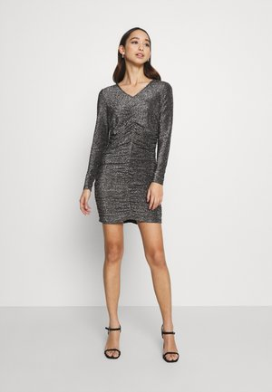 VMJOSEPHINE SHORT DRESS - Jersey dress - black/silver