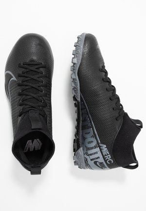 JR MERCURIAL 7 ACADEMY TF UNISEX - Astro turf trainers - black/metallic cool grey/cool grey