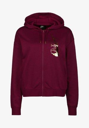 LOOSE FIT - Zip-up hoodie - dark beetroot  metallic gold