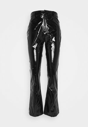 SHINY FLARE TROUSERS - Kangashousut - black
