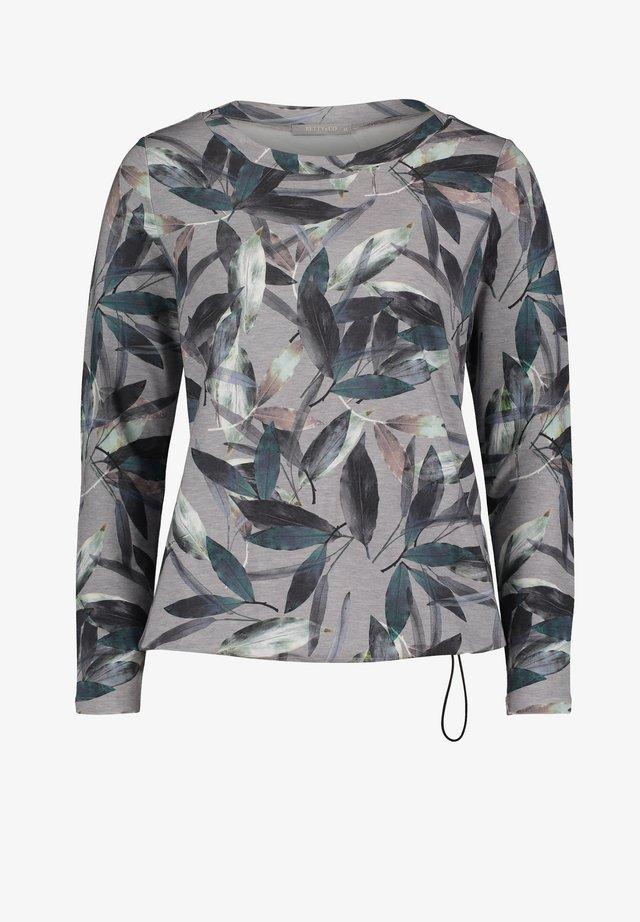 MIT BLUMENPRINT - T-shirt à manches longues - silver/grey