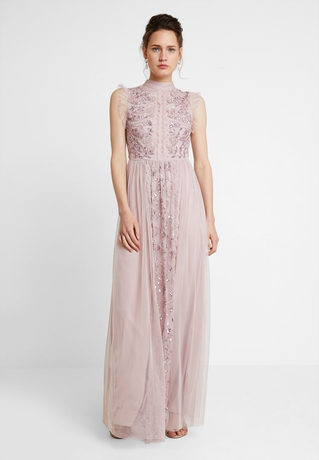 HIGH NECK EMBELLISHED DRESS WITH DETAIL - Abito da sera - frosted pink