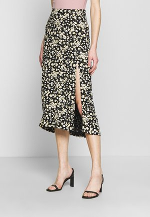 OPEN MIDI - A-line skirt - black