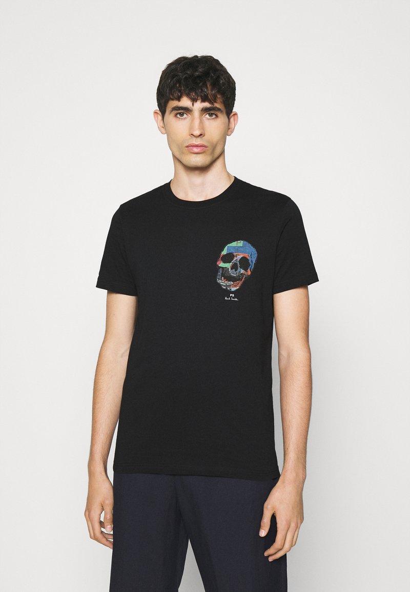 PS Paul Smith - SLIM FIT TSHIRT SKULL - Print T-shirt - black
