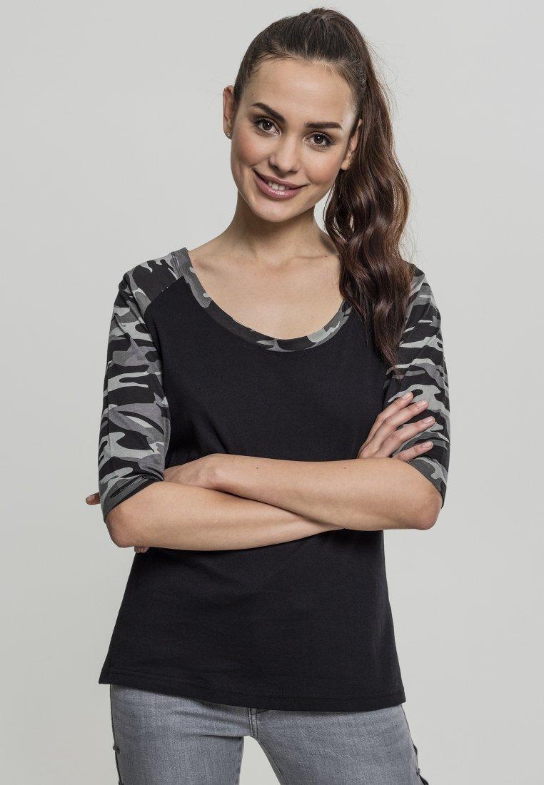 Urban Classics - Print T-shirt - black/light grey