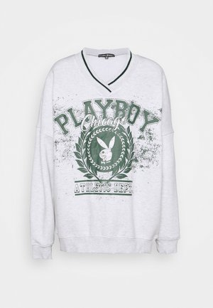 PLAYBOY VARSITY GRAPHIC V NECK SWEATER - Sweatshirt - grey marl