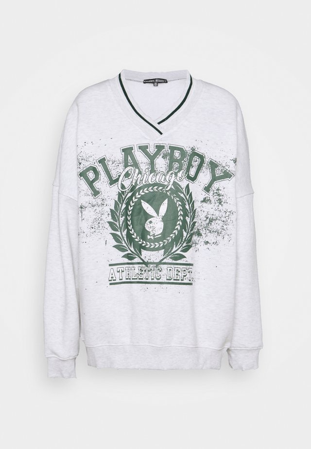 PLAYBOY VARSITY GRAPHIC V NECK SWEATER - Sweatshirts - grey marl