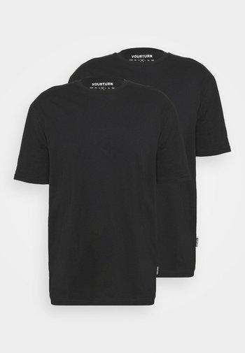 2 PACK UNISEX - T-shirt basic - black/black