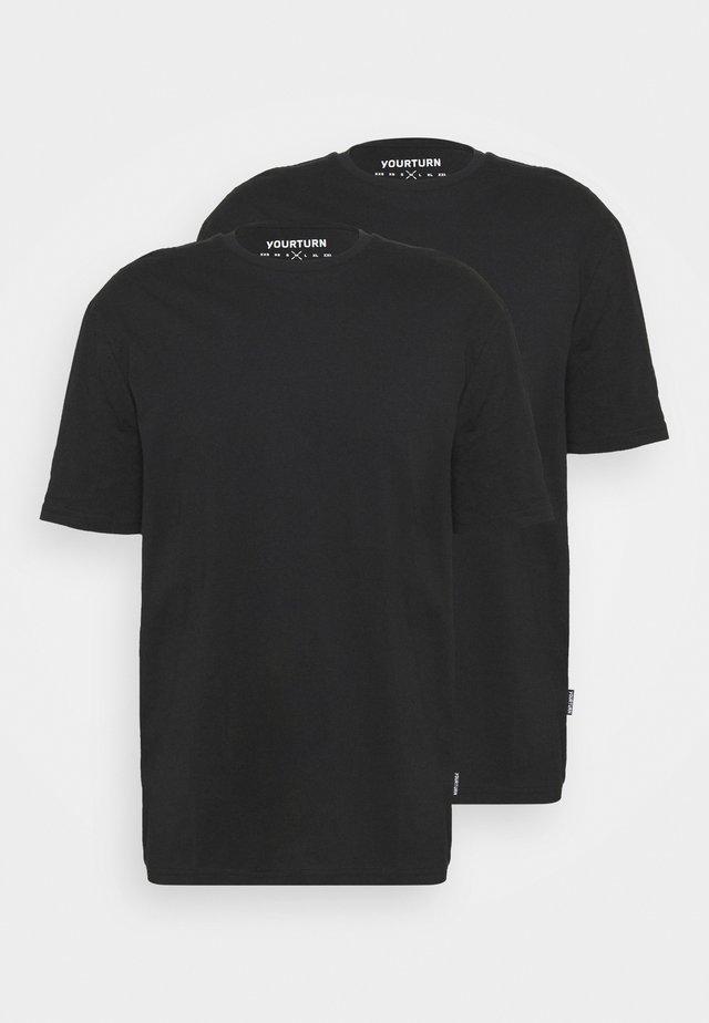 2 PACK UNISEX - T-shirts - black/black