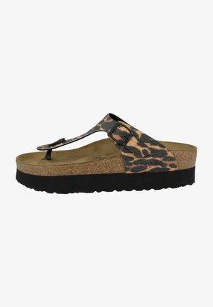 GIZEH BIRKO-FLOR - T-bar sandals - leo cognac