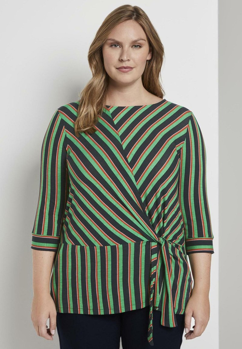 MY TRUE ME TOM TAILOR - MIT KNOTEN-DETAIL - Long sleeved top - multi-coloured