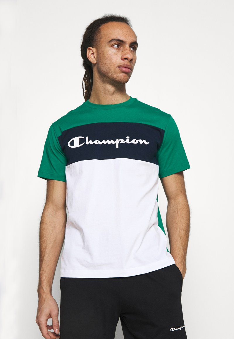 Champion - CREWNECK - T-shirt med print - green/white/navy