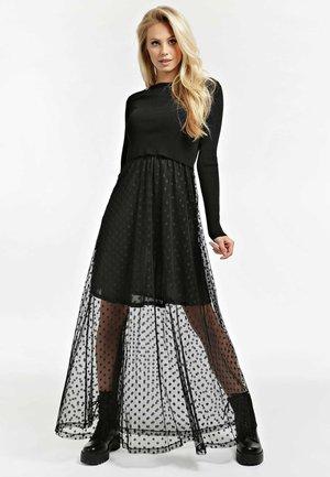 LANGES KLEID 2 IN 1 MIKROPUNKTE - Długa sukienka - schwarz