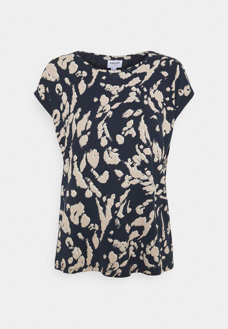 Vero Moda - VMAVA PLAIN - Camiseta estampada - navy blazer/hailey