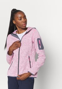 CMP - WOMAN JACKET FIX HOOD - Fleece jacket - pink fluo melange/graffite - 3