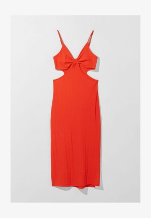 WITH CUT-OUT SIDES - Day dress - red
