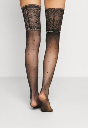 WINSOME N. STU FALKE WINSOME NIGHT 15 DENIER STAY UPS TRANSPARENT FEIN SCHWARZ - Over-the-knee socks - black