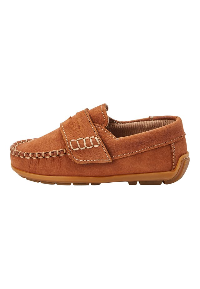 NAVY NUBUCK PENNY LOAFERS (YOUNGER) - Mokasíny - brown