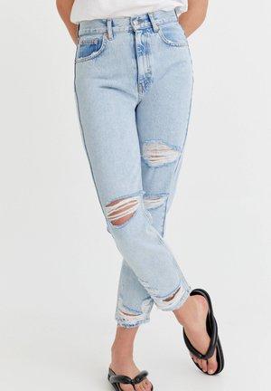 Straight leg jeans - mottled royal blue