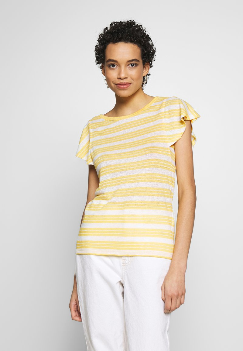 Benetton - T-shirt z nadrukiem - yellow