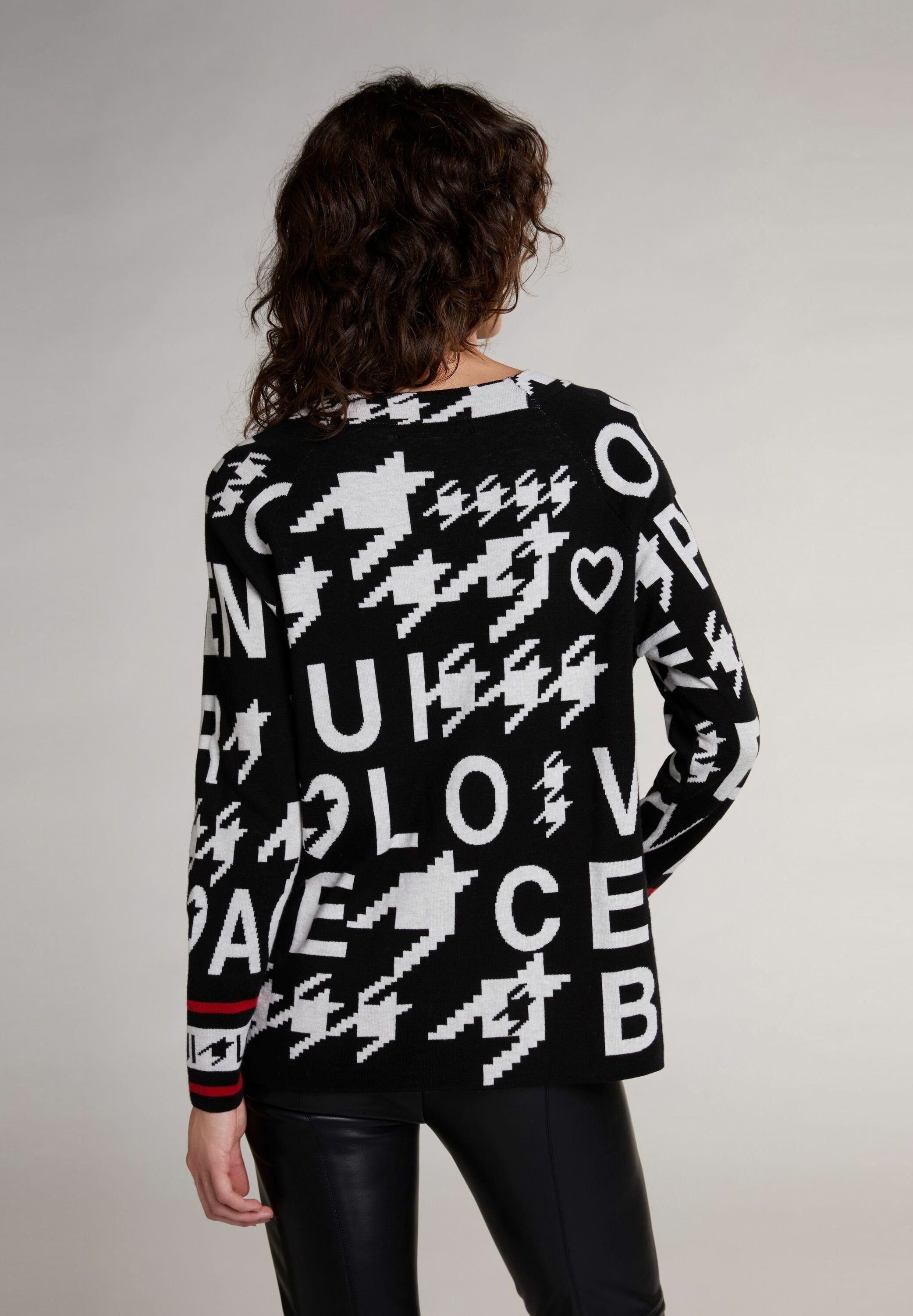 Oui Sweater - black offwhite - Dames jas Actueel