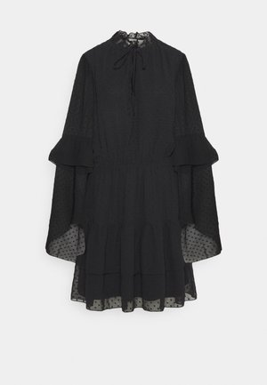 KEYHOLE FLUTTER SMOCK DRESS DOBBY - Day dress - black