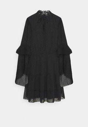 KEYHOLE FLUTTER SMOCK DRESS DOBBY - Kjole - black